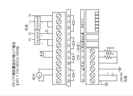 急求西門子s7-200系列plc模擬量模塊em235cn回路的接線圖,就像下圖,但