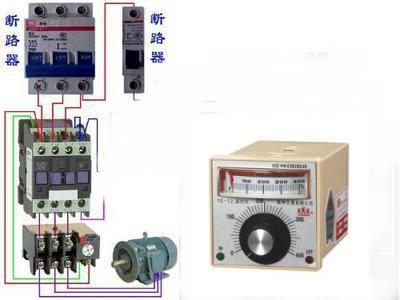 交流接触器与温控器的接线图 380v的,要图纸,别的看不