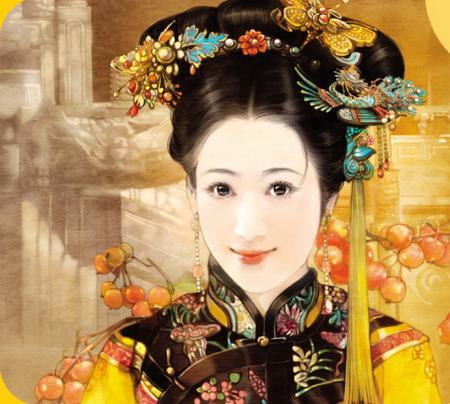 求几幅古装手绘清朝妃子装,原创更好
