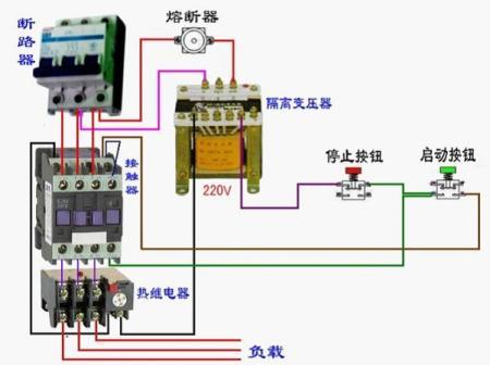 怎样用220伏接触器启动380伏电机接线图