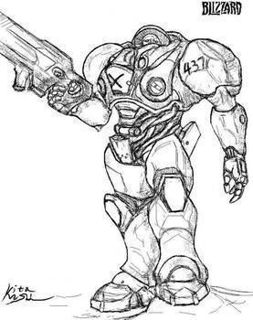 求星际争霸2人族枪兵黑白手绘图,急用!