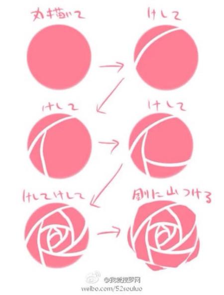 整朵玫瑰花怎么画简笔画