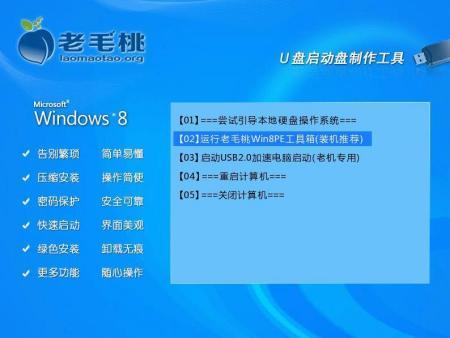 1)制作一个老毛桃win8pe工具箱u盘,到网上下载一个系统镜像文件,并将