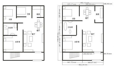 求一张房屋设计图100平方左右