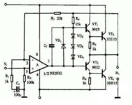 谁能只用一个ne5532p做音响功放 能的请发个电路图来看下
