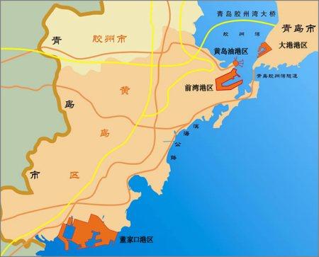 青岛港也有规划董家口港区,也是近些年的事,你可以百度地图看看距离.