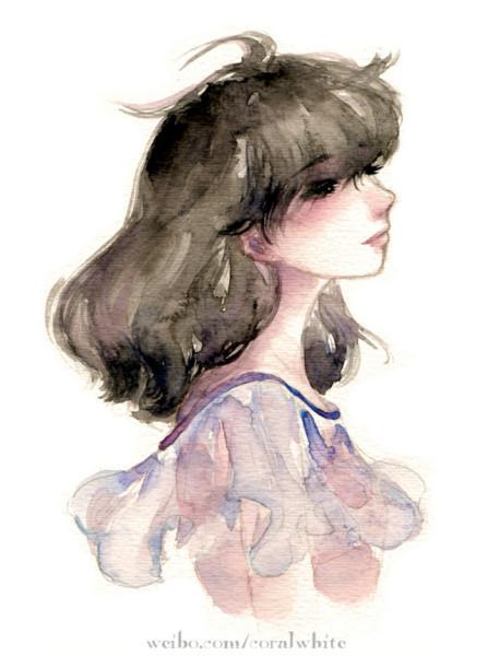 女生流泪的侧脸手绘