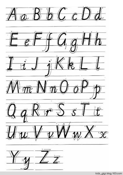 英语26个字母大小写在四个线上怎么写图片