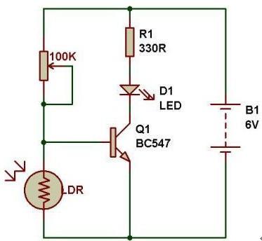 简单光敏电阻开关电路
