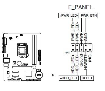 华硕b85m f主板 前置板插线图