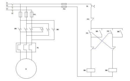 三相异步电动机两处控制电动机电路图,要求正反转,一处控制开始,一处