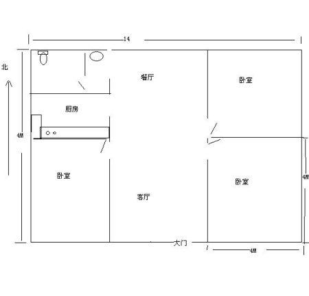 5米平房平面图,具体要求三室二厅一厨一