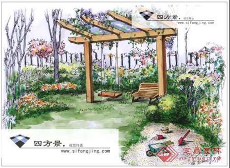 求景观园林小品手绘效果图 三视图