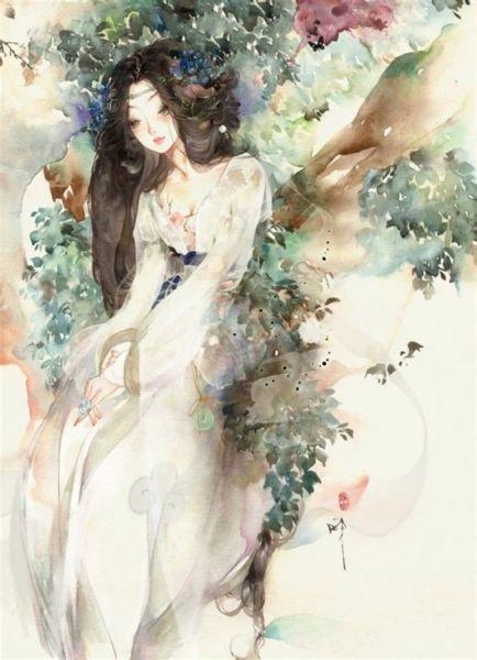 谁有古风人物手绘?要白衣女的.