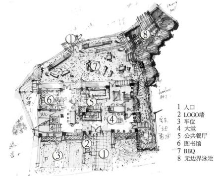 这是平面设计图,这是现场n多手绘设计图之一,尺度,材料功能空间都一一