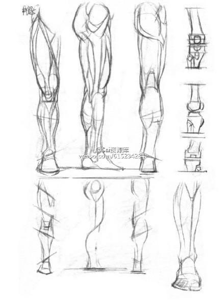 男生漫画手绘腿部图片