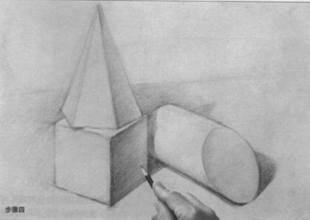铅笔画石膏几何体素描图片步骤四:明暗交界线