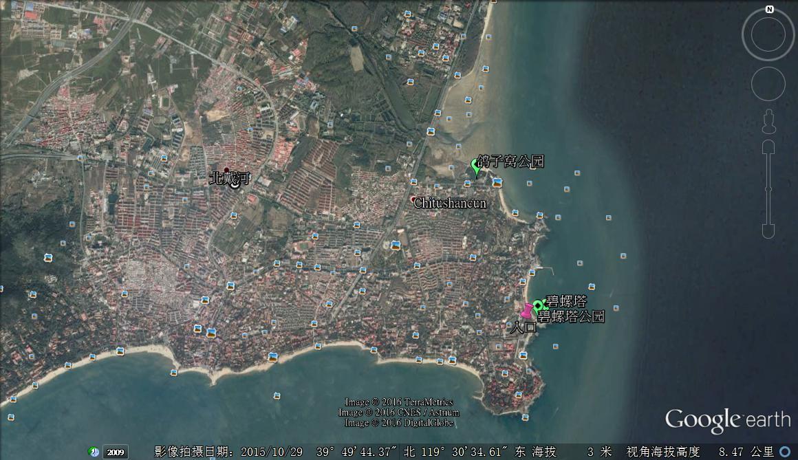 北戴河卫星地图图片