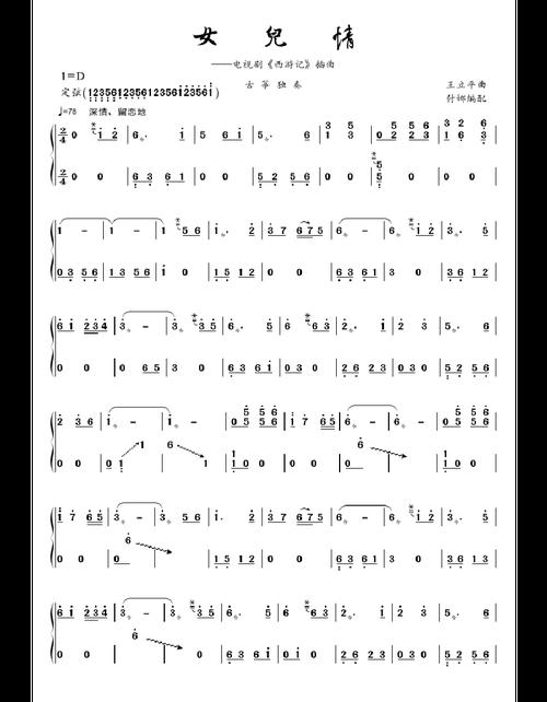 古筝曲谱 - 女儿情