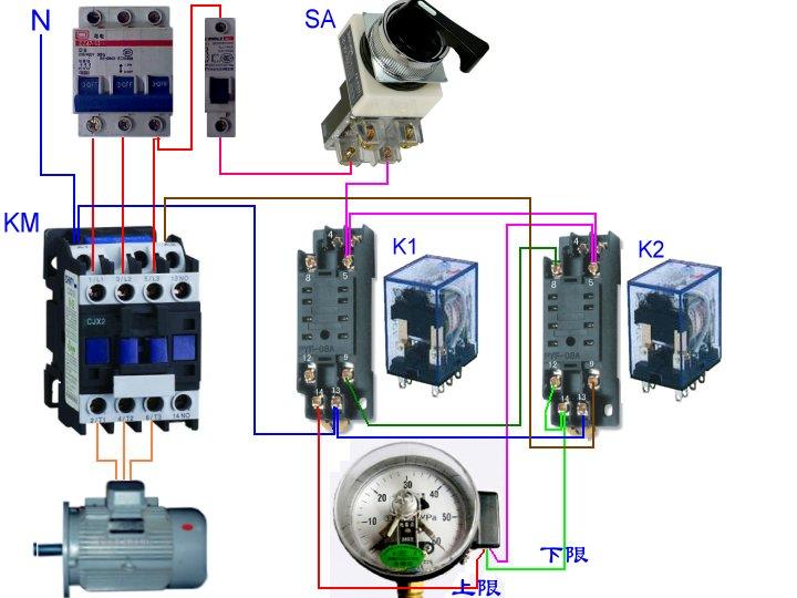 一个交流接触器,两个52p中间继电器,一个电接点压力表