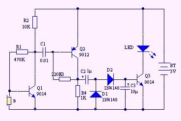 直流led声控灯,能不能用9v或者3v的电池做一个led的声控灯,请问电路该