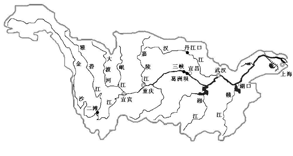 长江黄河水系图手绘