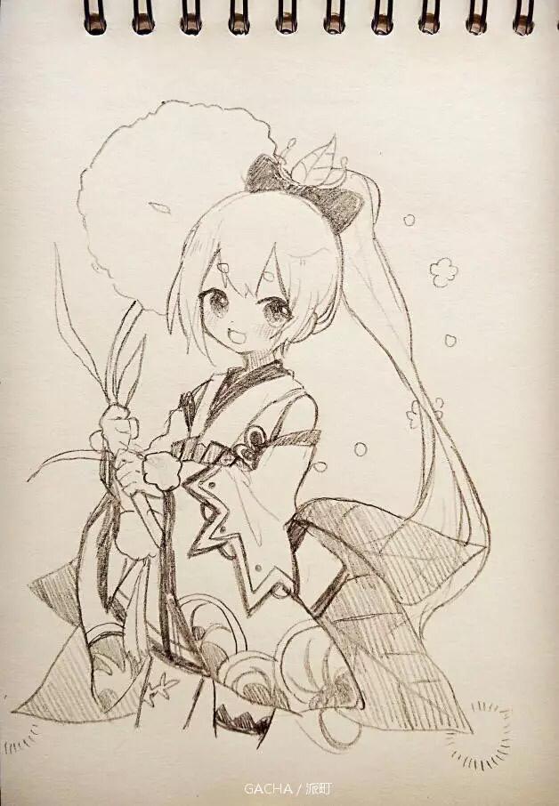 求阴阳师,桃花妖和莹草的铅笔画,手绘,黑白的那种