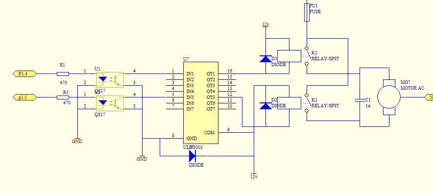 uln2003驱动继电器这图有问题没,硬件电路搭接了,继电器没吸合,求大神