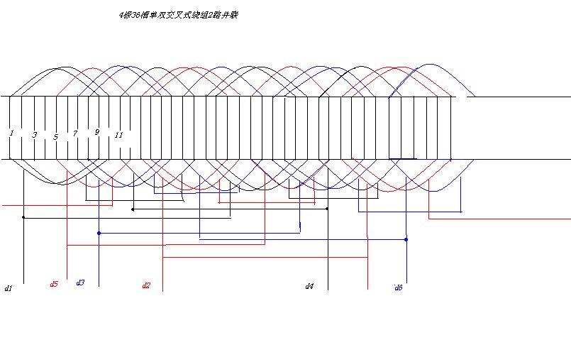 谁知道三相电动机11kw,4极,36槽,双层,定子绕组接线图