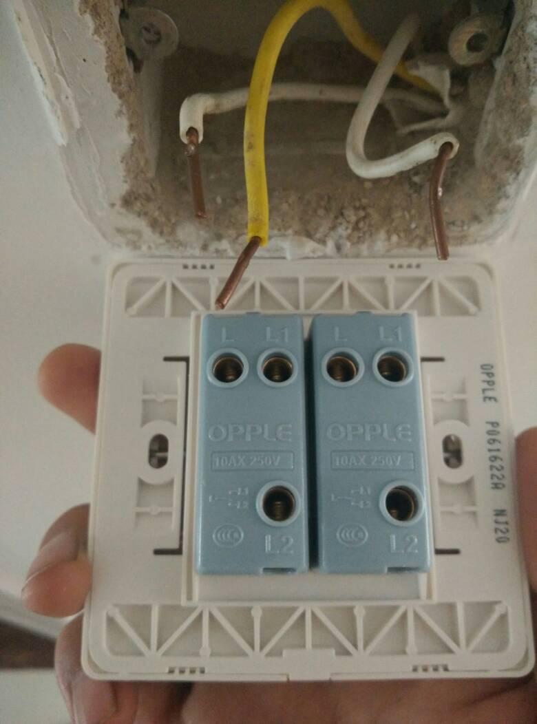 欧普两开单控开关怎么接线?墙里有三根线,最好是图解