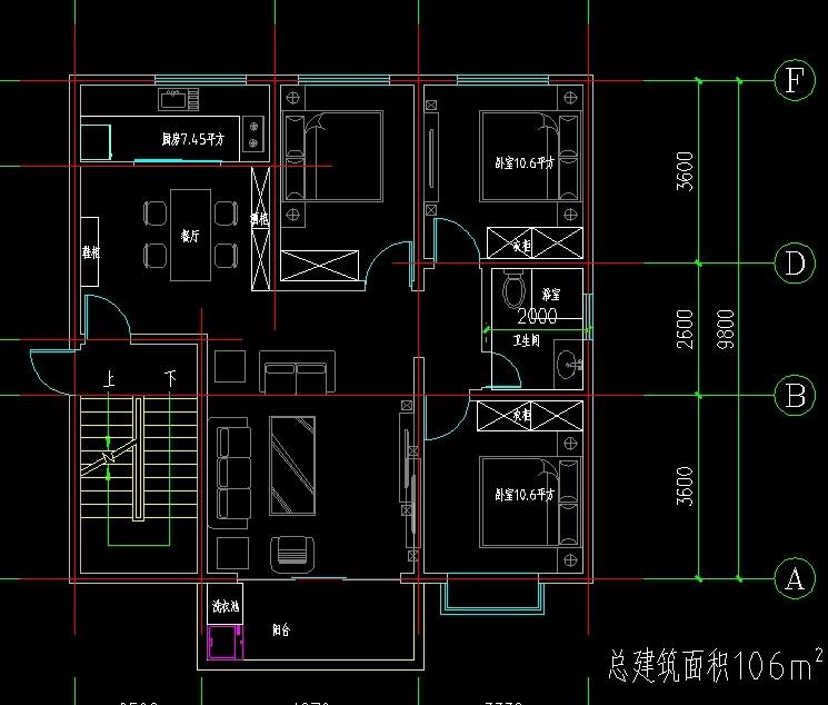 想盖一栋二层半长12米宽8米求一个农村房屋设计工图图片