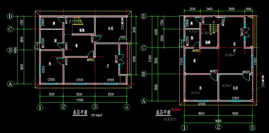 设计图,地基15米x9米,设计楼梯间,一楼二楼空架,三楼住房,楼层六层半