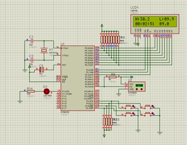 单片机和ds18b20温度传感器实现温度监控系统和预警功能 附上原理图和