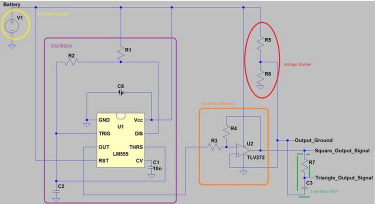 求利用ne555产生方波和三角波的电路图,占空比最好可调, 要有波频率