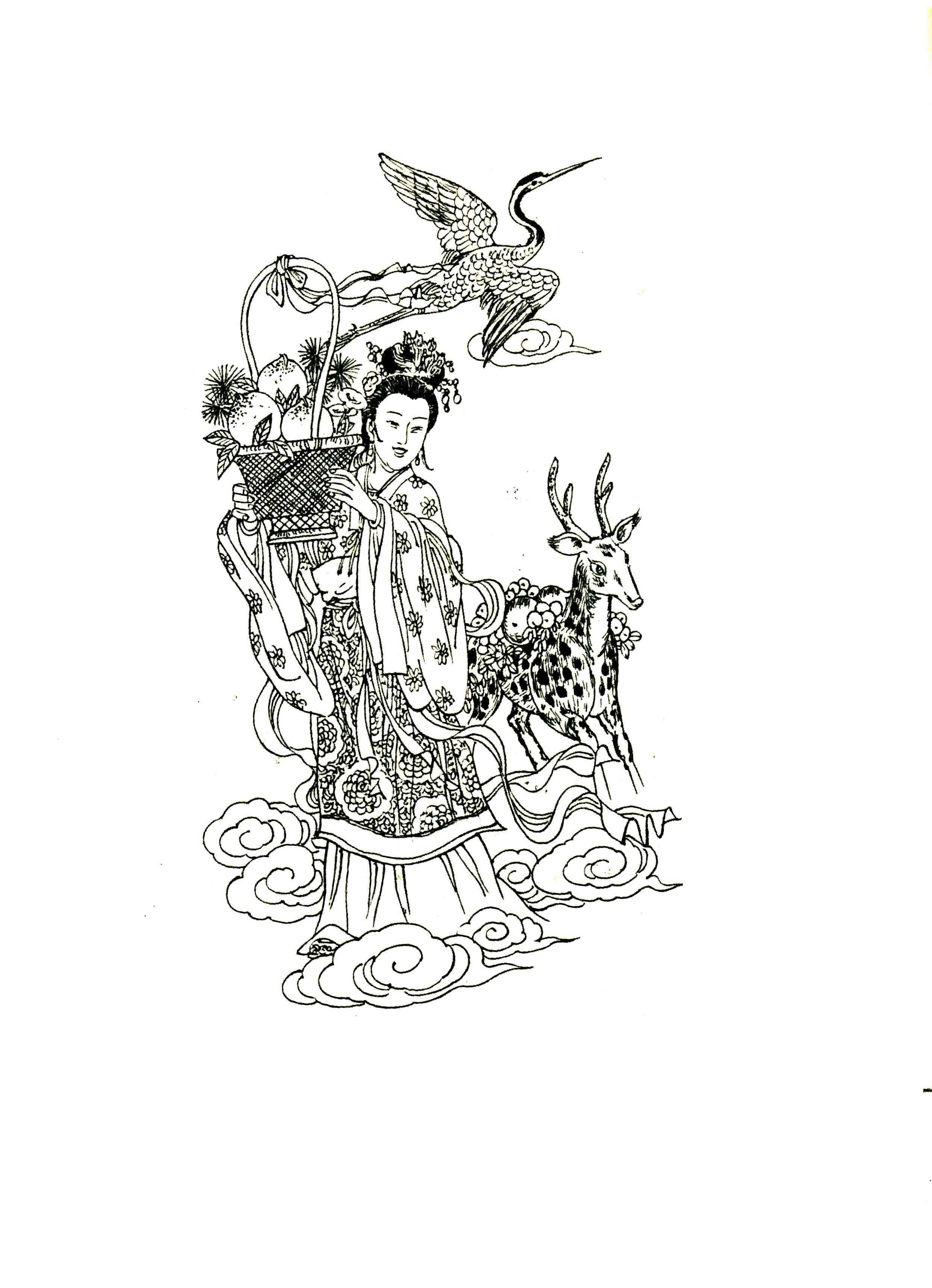 请把仙鹤去掉,裙子改个花纹样式,最好上上彩色谢谢