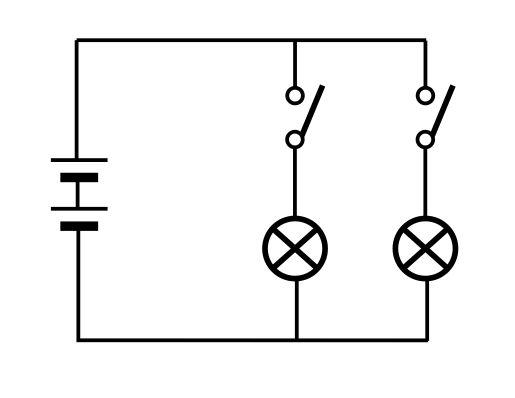 电池两节串联,小灯泡两个,电线若干,开关两个