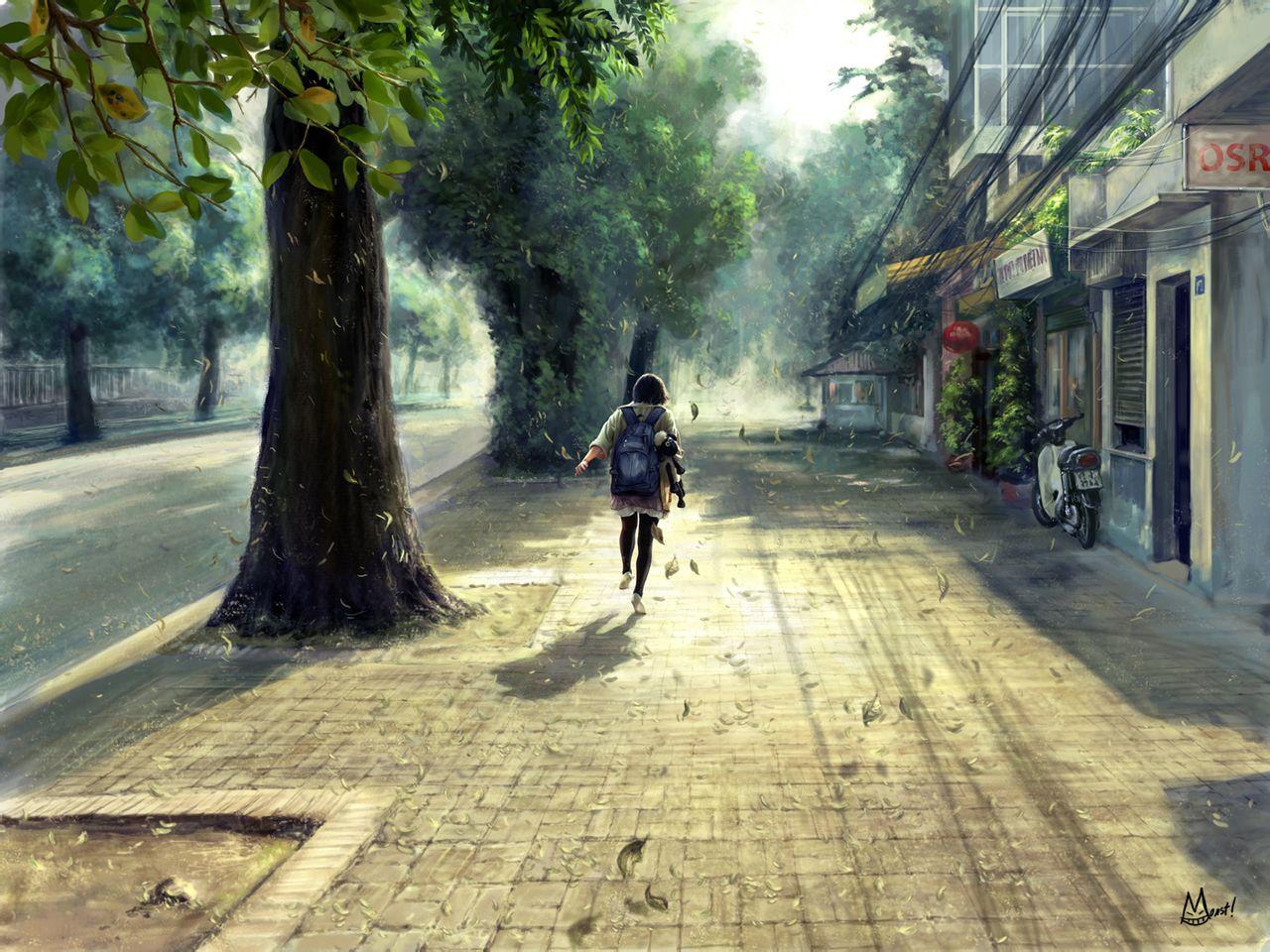 求一个小女孩背着蓝色书包放学回家路上奔跑的背影的高清壁纸.thanks
