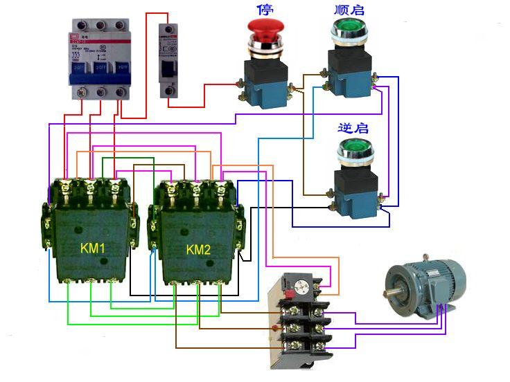 求与下面电路图相对应的接触器双重联锁正反转控制线路接线图!