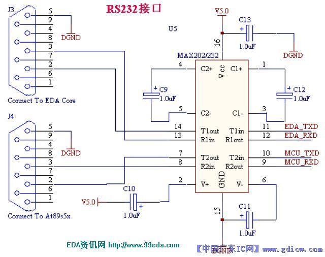 这个max232转换电路是不是可以同时为两个单片机下载