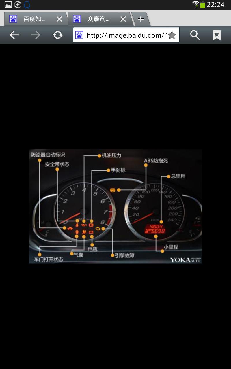 众泰汽车5008仪表盘故障灯图解法