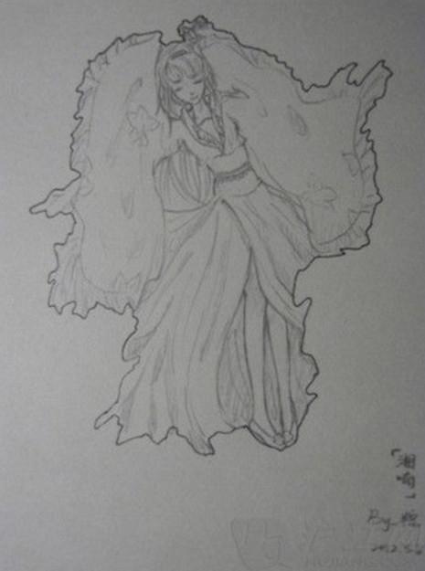 铅笔漫画穿纱裙飘飘然的女孩子,注意是背面,裙子很长在空中飘起