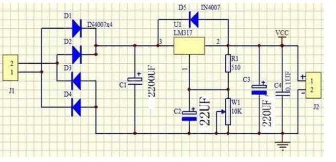 lm317是可调节三端正电压稳压器,在输出电压范围1.