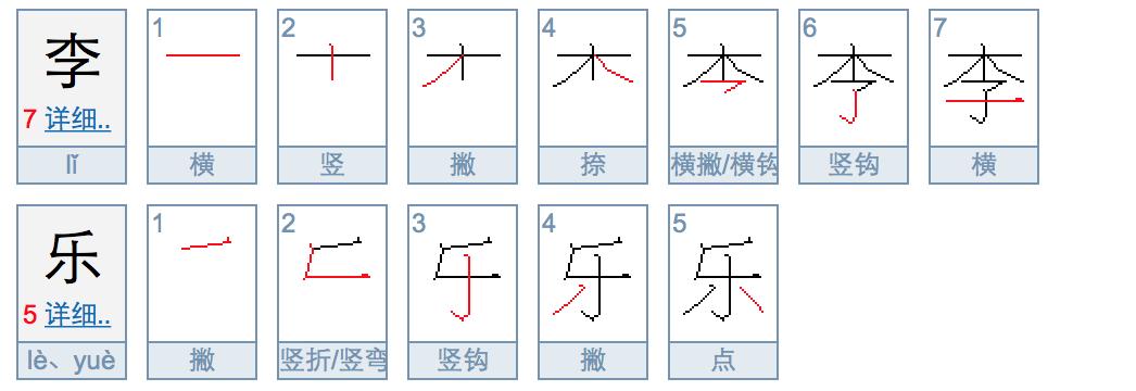 李乐二个字笔画多少?图片