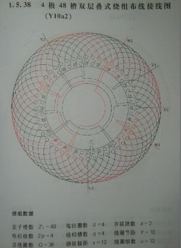 4极48槽2路电机接线图