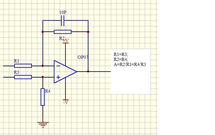 求op07差动放大具体电路图!2脚3脚输入来自惠斯通电桥