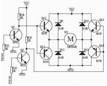 h桥电路直流电机正反转的续流二极管怎么接?