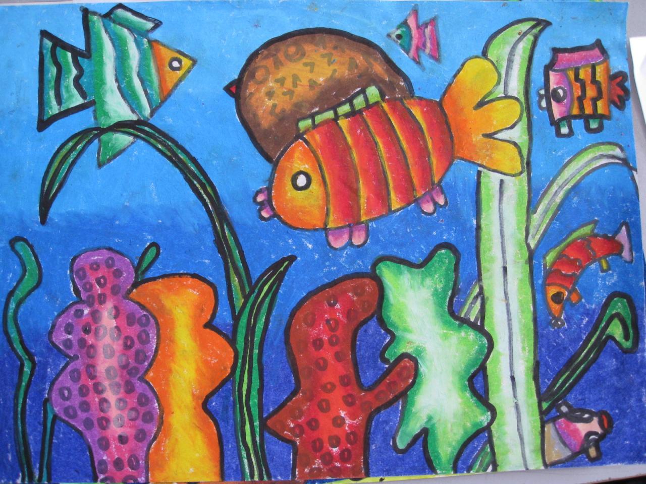 关于海底世界的画四开纸油画棒图片