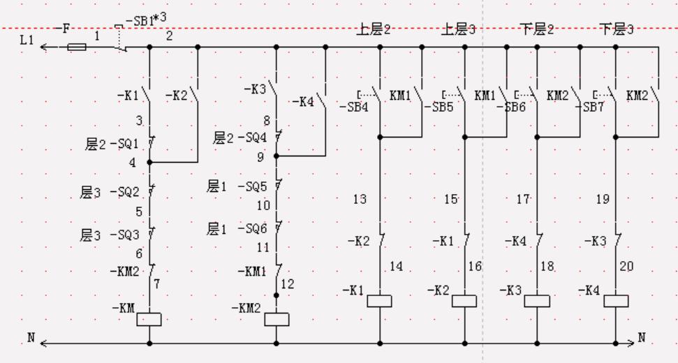 三层货梯吊栏控制电路图