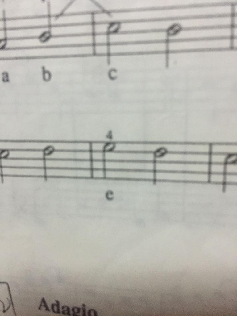 求教五线谱音符上面的数字4 是什么意思图片