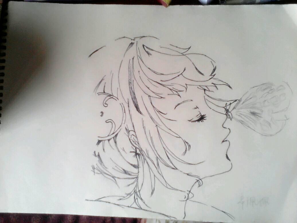 求一幅动漫图,一个女孩的侧脸他的鼻子上落了一只蝴蝶,好像是手绘图.